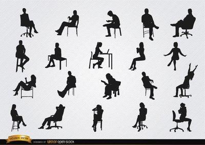Personas sentadas en las siluetas de sillas Clipart Picture.