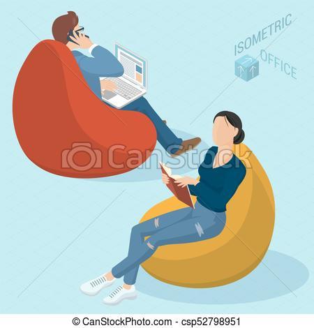 Gente sentada en sillas de bolsa de frijoles. Un conjunto de.