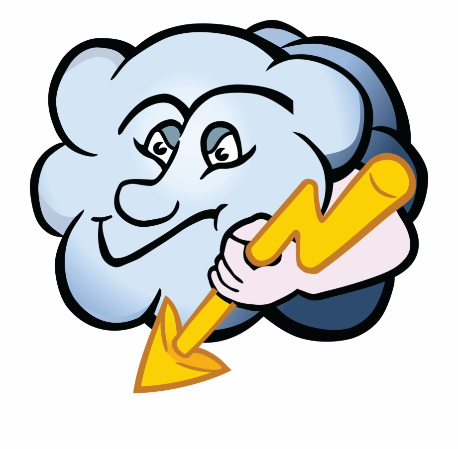 Free Clipart Of A Cloud Character Holding Lightning.