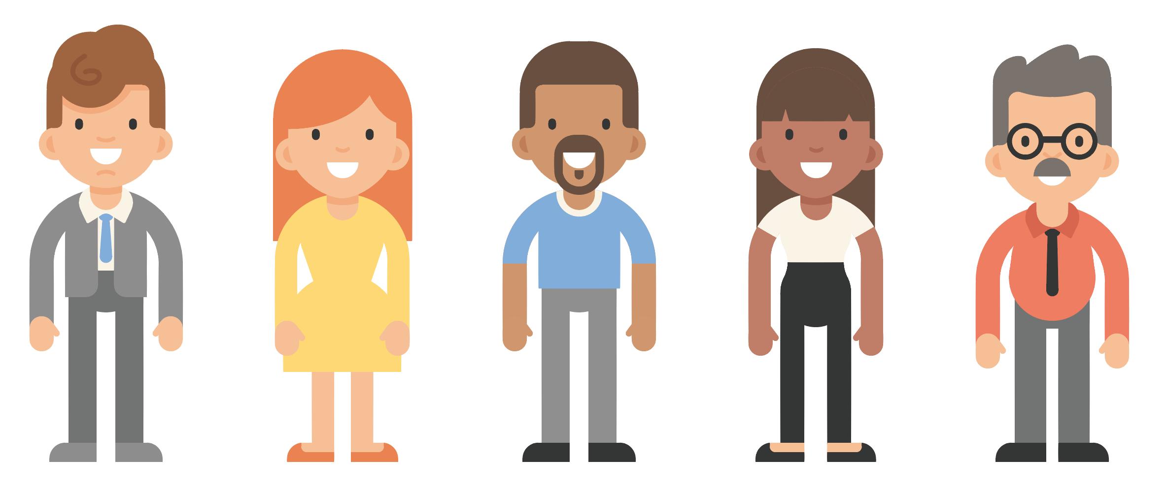 Download Free png Lot de personnages flat design gratuit.
