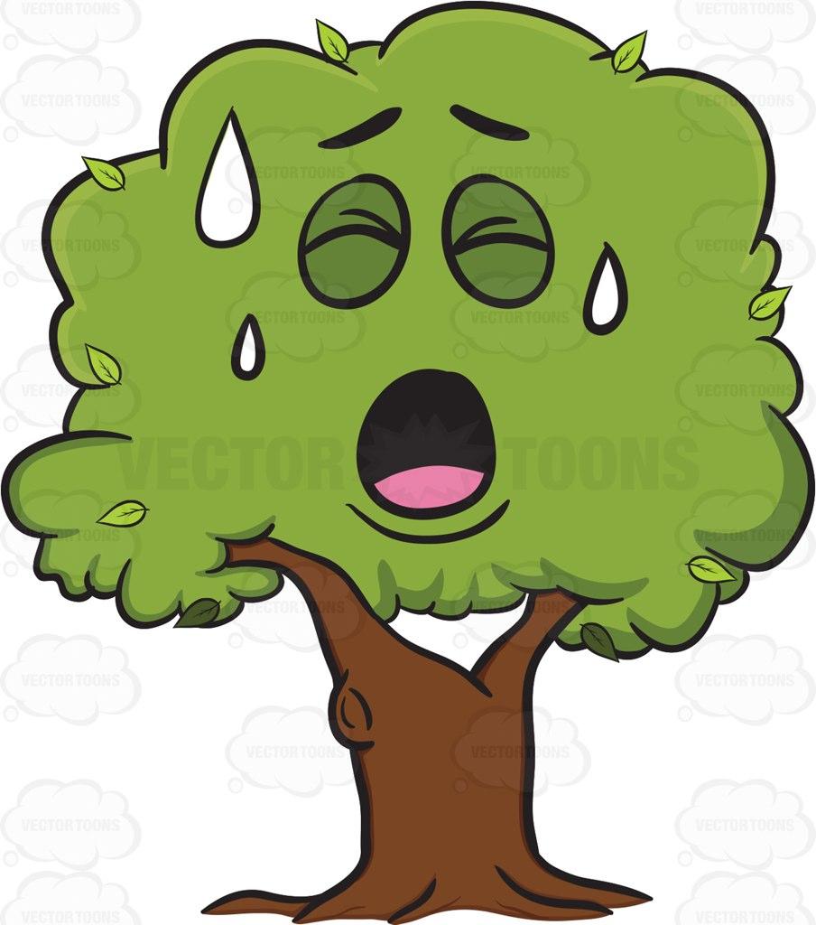 Healthy Leafy Tree Sweating In Pain Emoji.