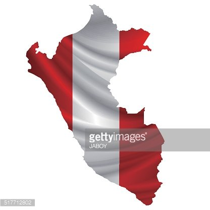 Peru flag map icon Clipart Image.