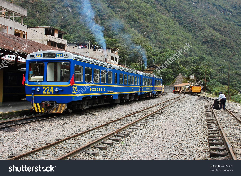 Perurail At Aguas Calientes Station (Machu Picchu, Peru) Stock.