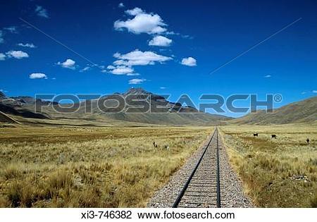 Stock Photo of Railway track through the Andes mountain range.