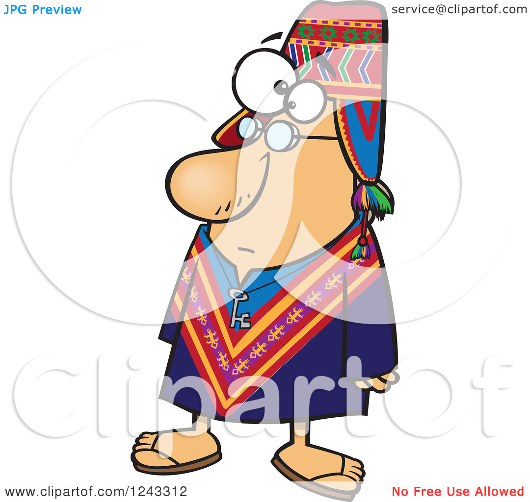 Clipart of a Cartoon Peruvian Man.