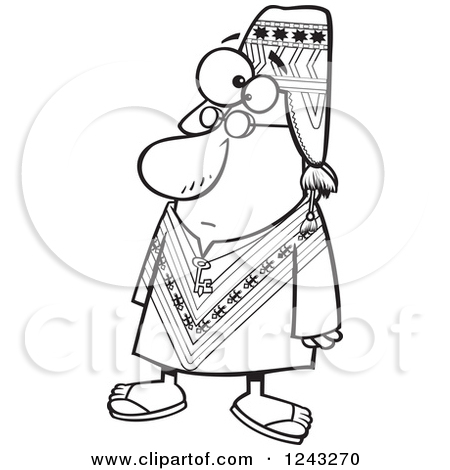 Clipart of a Black and White Cartoon Peruvian Man.