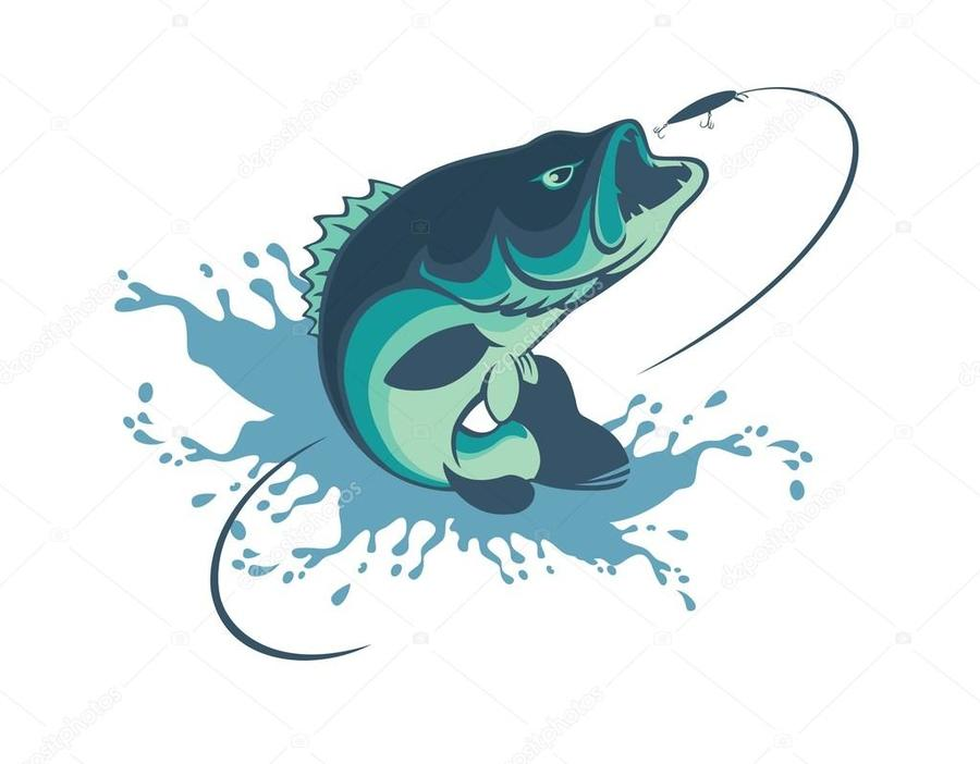 Download pesca en vector clipart Bass.