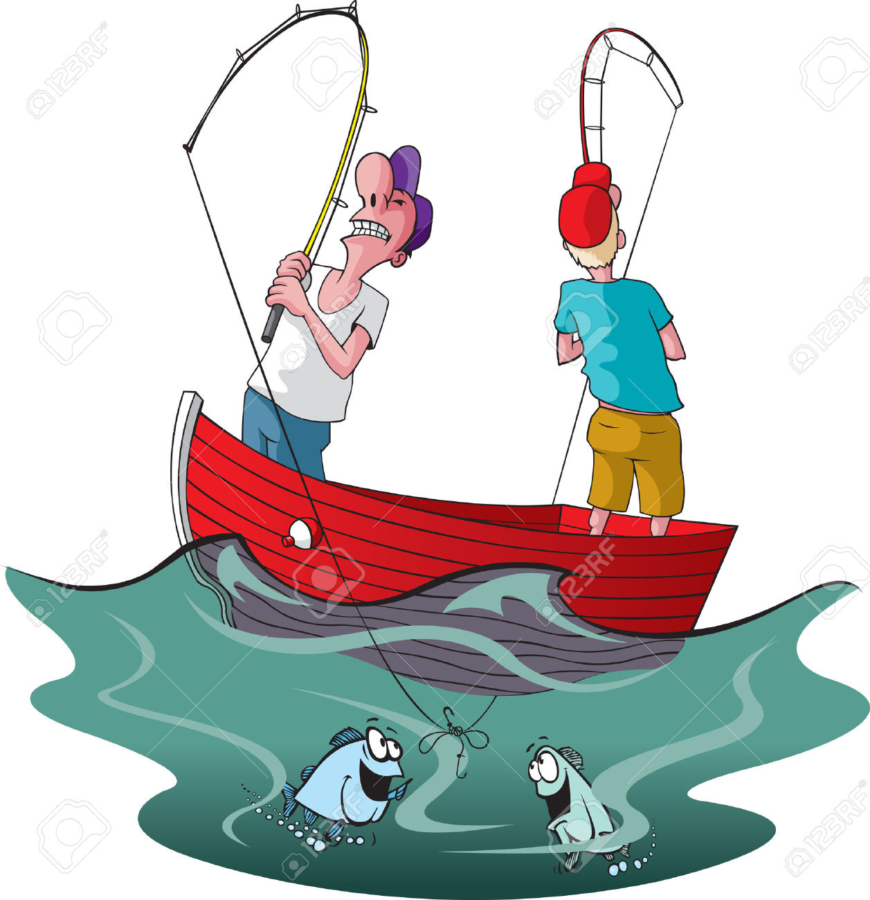 Vector Cartoon Of Two Tangled Up Fishermen Royalty Free Cliparts.
