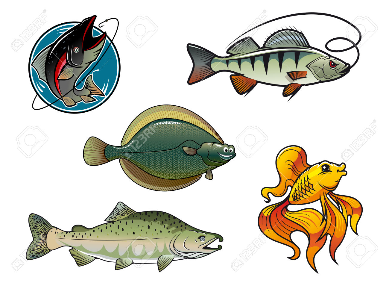 Cinque Dei Cartoni Animati Colorati Personaggi Di Pesce. Salmone.