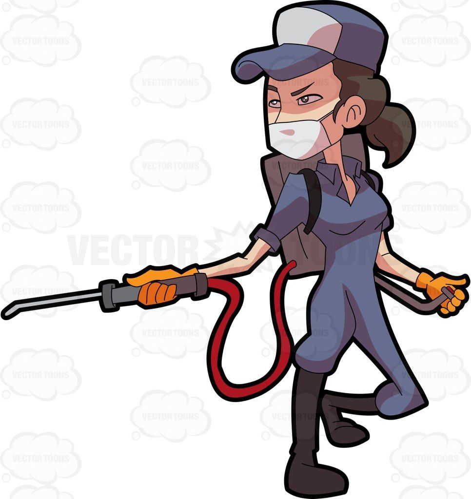 A female exterminator operating a pest control equipment.