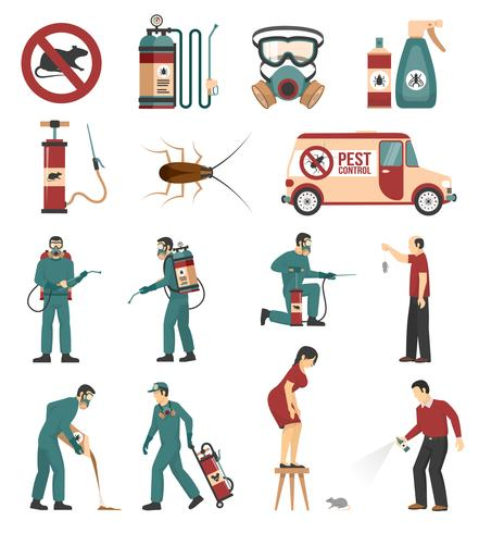 Pest Control Service Flat Icons Collection.