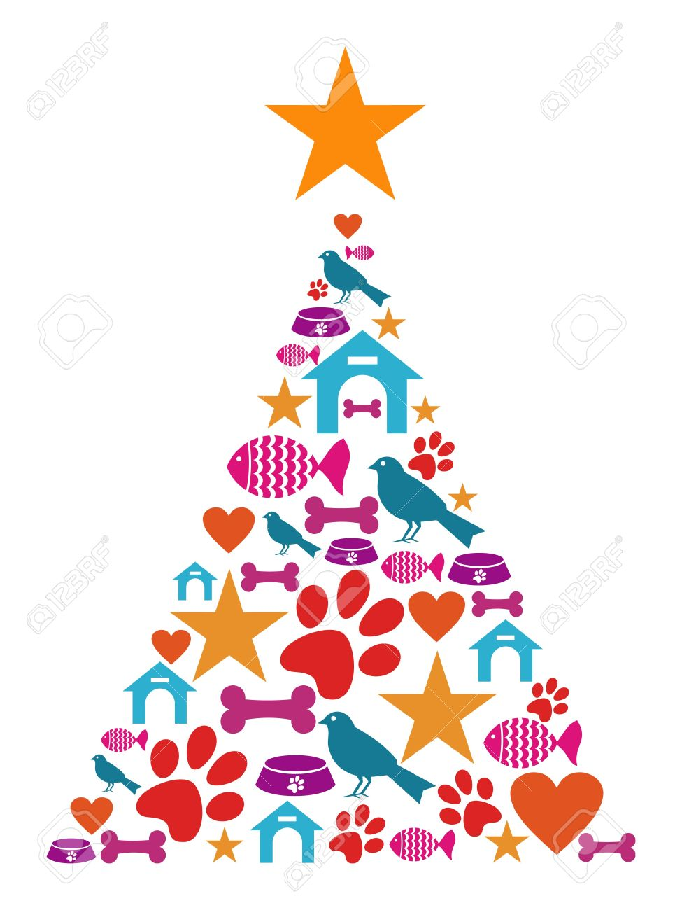Christmas Tree Shape Made With Pets Icons Set. Royalty Free.