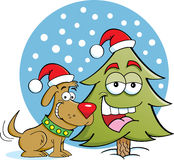 Cartoon Dog With Christmas Gift Box Royalty Free Stock Images.