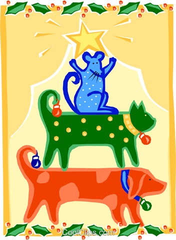 pet Christmas tree Royalty Free Vector Clip Art illustration.