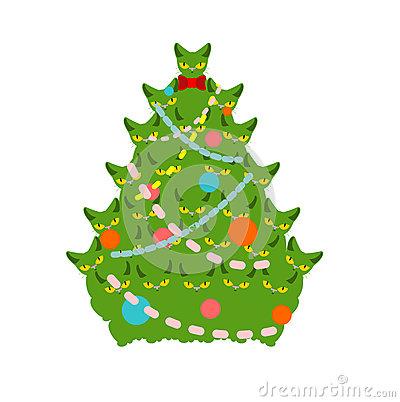 Cartoon Christmas Cats Clip Art 2 Royalty Free Stock Image.