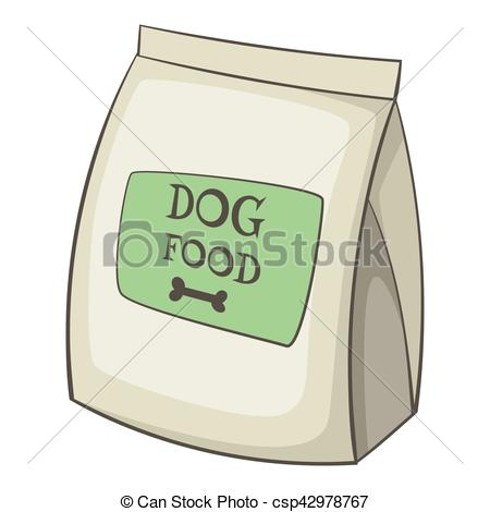 Clip Art Vector of Dog food bag icon, cartoon style.