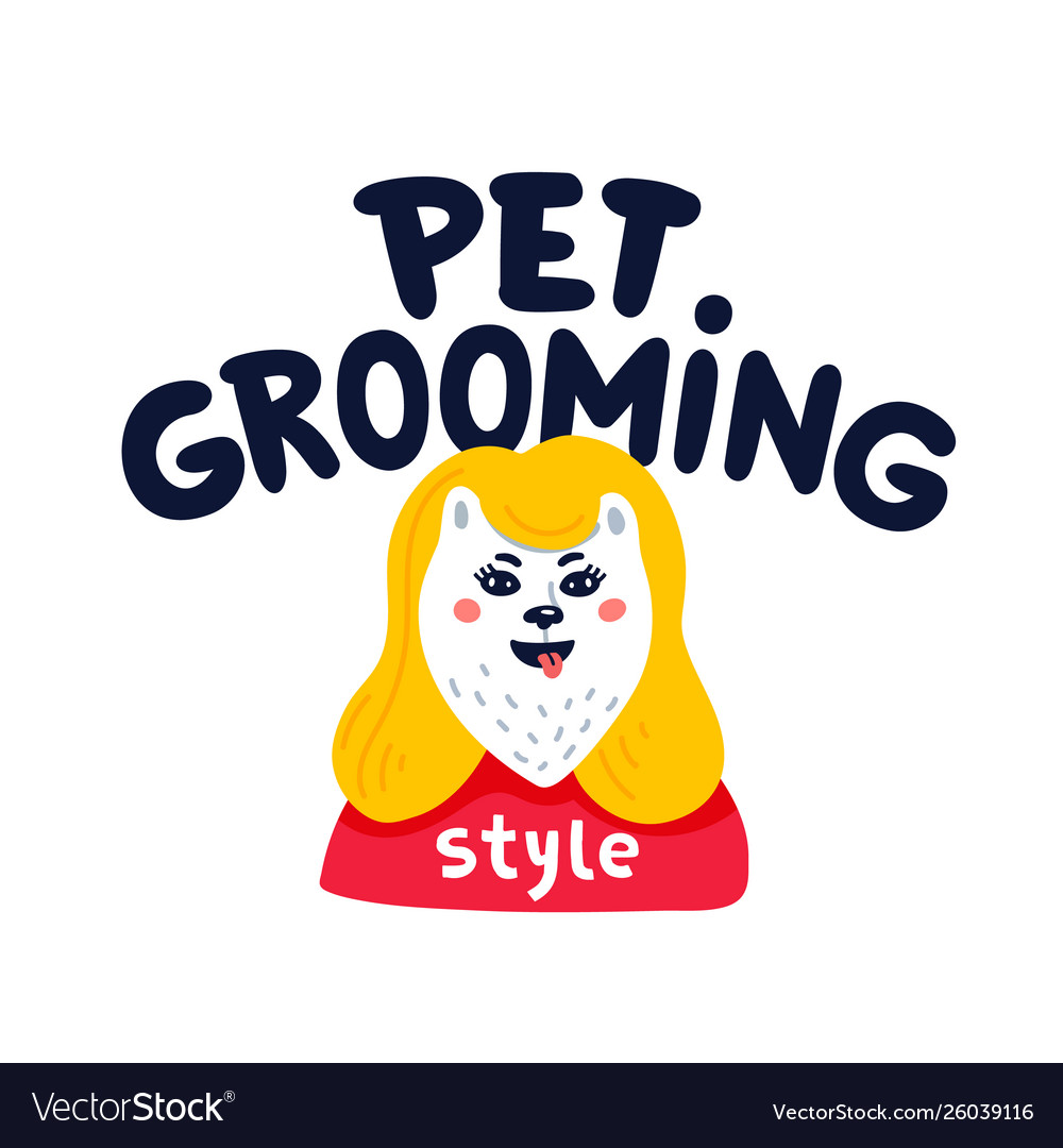 Pet grooming logo happy dog pet grooming.