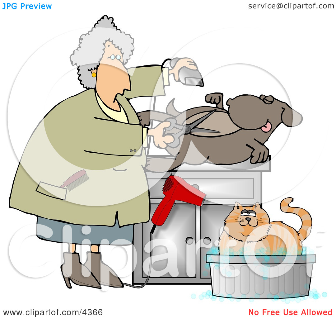 Female Pet Groomer Cutting and Trimming Dog Hair Clipart by Dennis.
