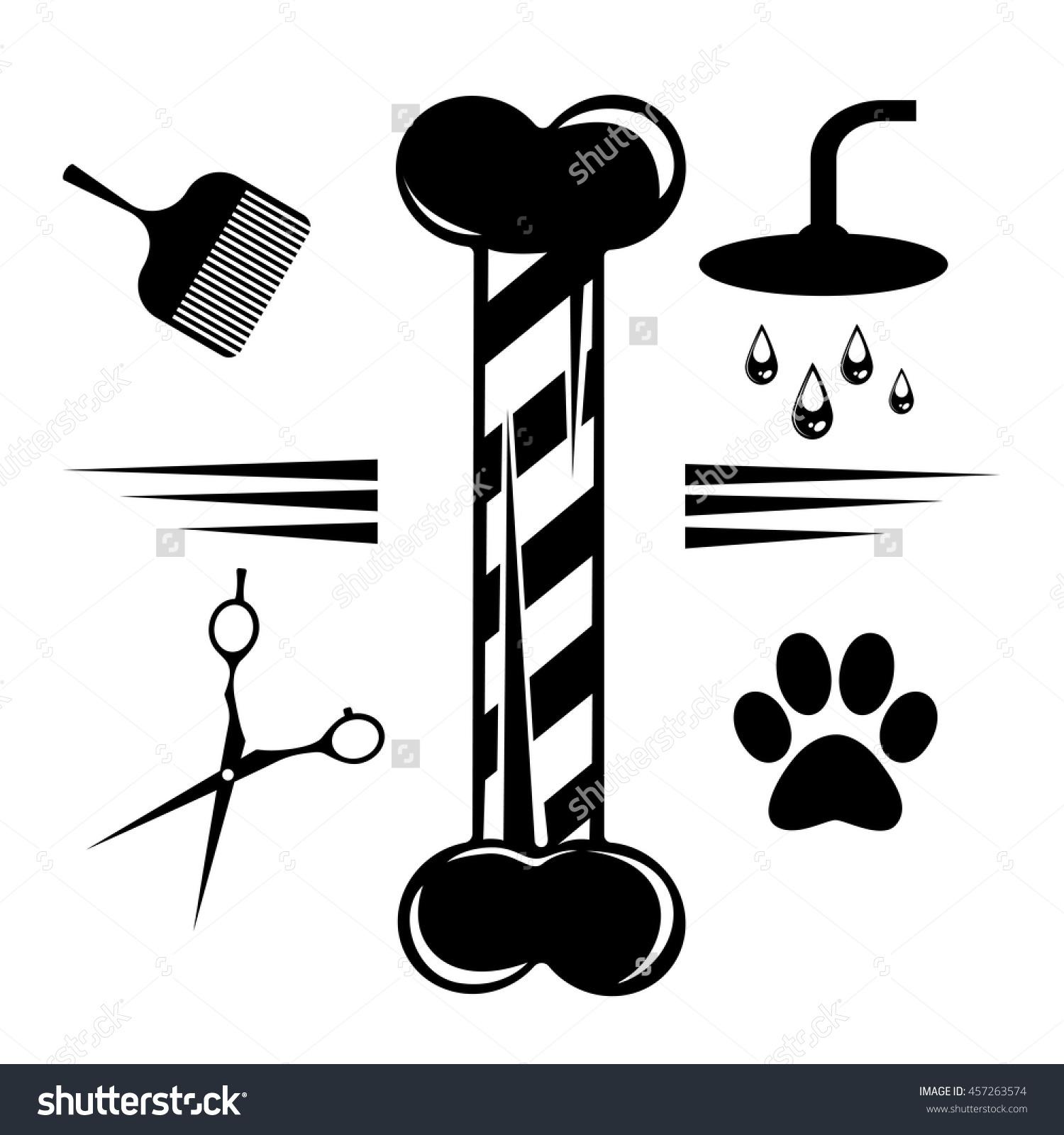 Set Of Pet Hair Salon Icons. Vector Illustration.