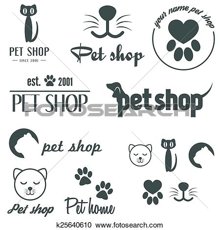 Clipart of Set of vintage logo and logotype elements for pet shop.