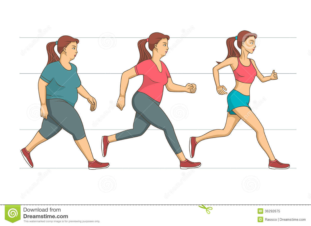 Weight Loss and Exercise Clip Art.