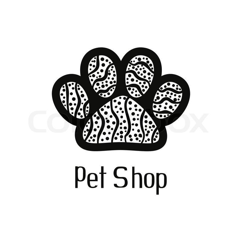 Original pet shop logo with pet paw.