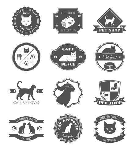 Pet shop cat black labels set.
