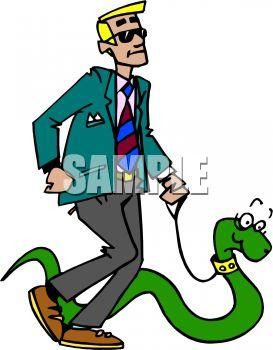 Man Walking His Pet Snake.