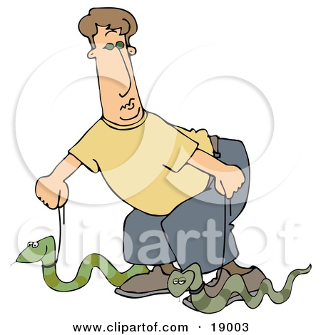 Clipart Illustration of a Silly Man Walking Two Green Pet Snakes.