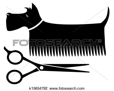 Clip Art of isolated grooming dog k15654792.