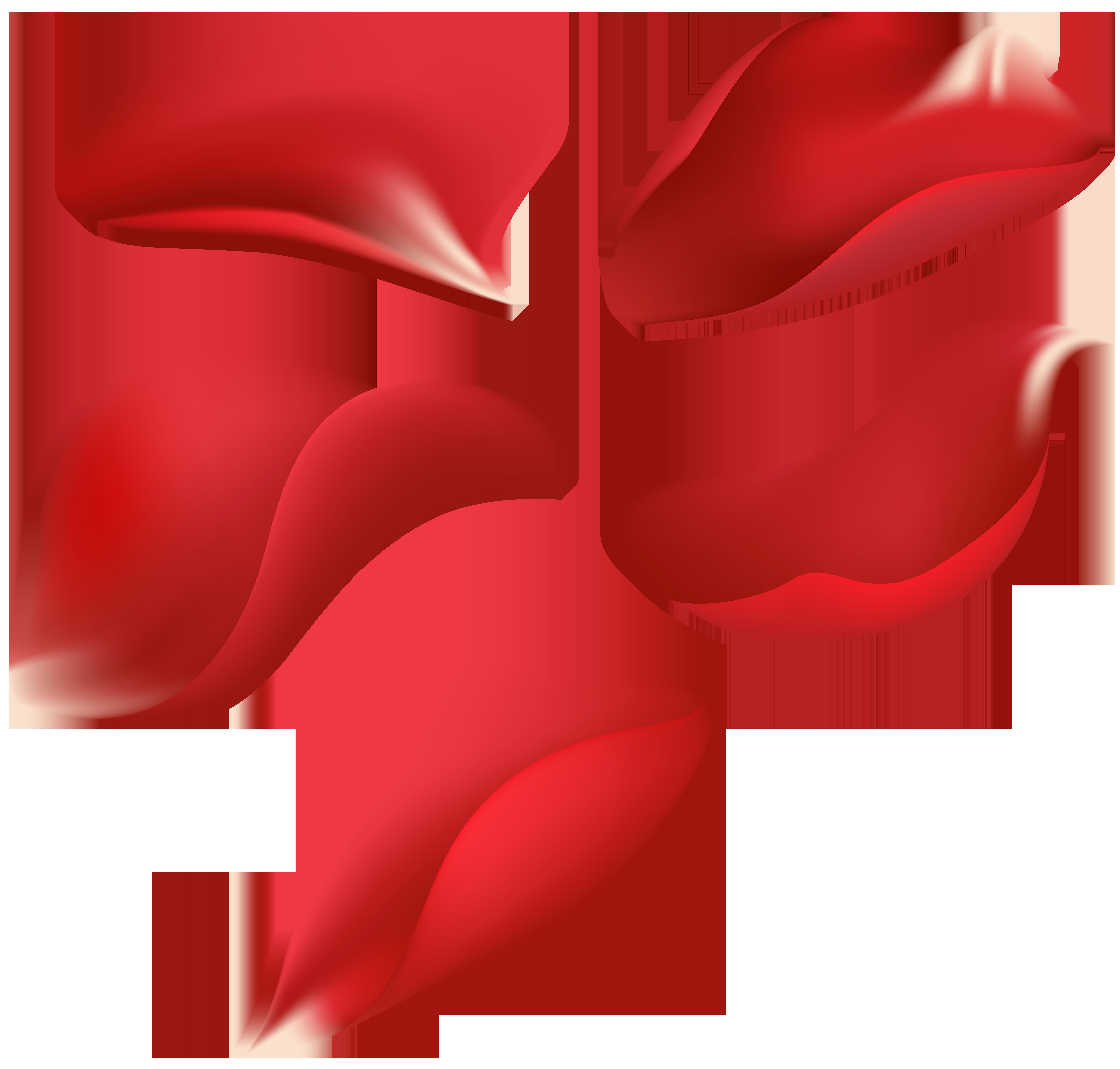 Red Rose Petals Transparent Clip Art Image.