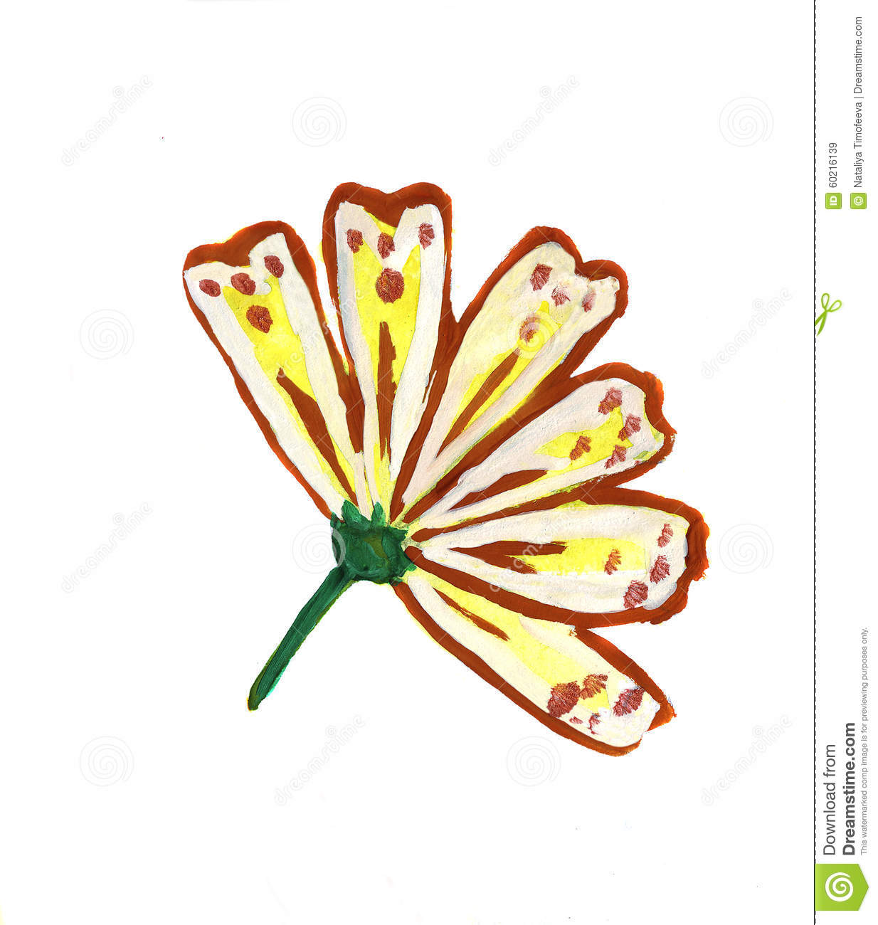 Illustration Of Flower Petals Yellow Painted Colors Stock.