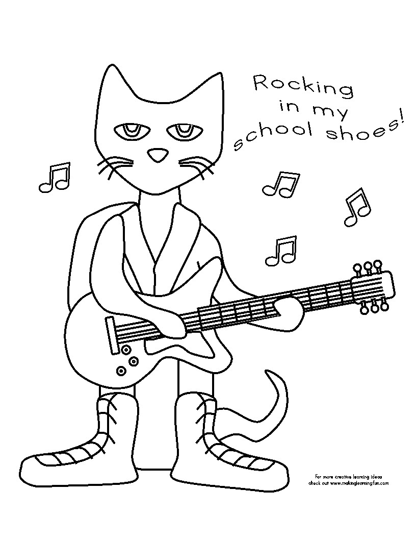 Pete the cat clipart black and white » Clipart Station.