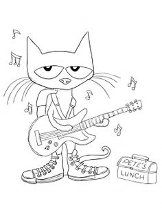 Pete The Cat Black And White Clipart.