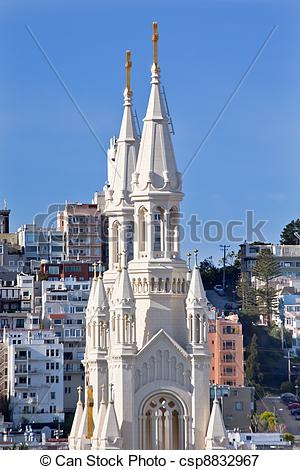 Picture of Saint Peter and Paul Catholic Church Steeples San.