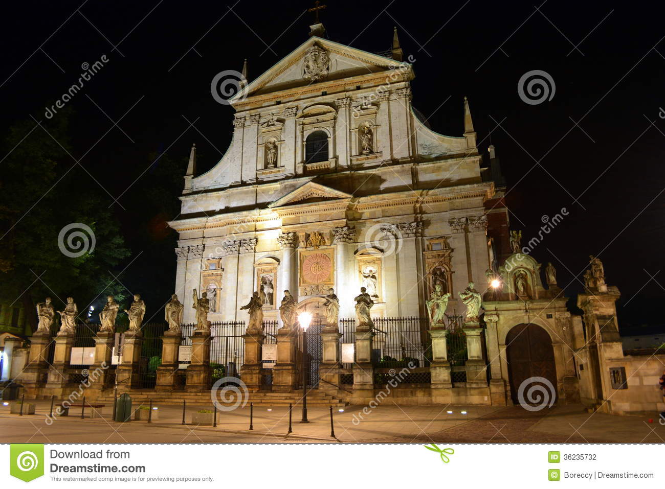 Saint Peter And Paul Church In Krakow At Night Stock Photography.