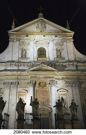 Stock Photo of Saints peter and paul church illuminated at night.