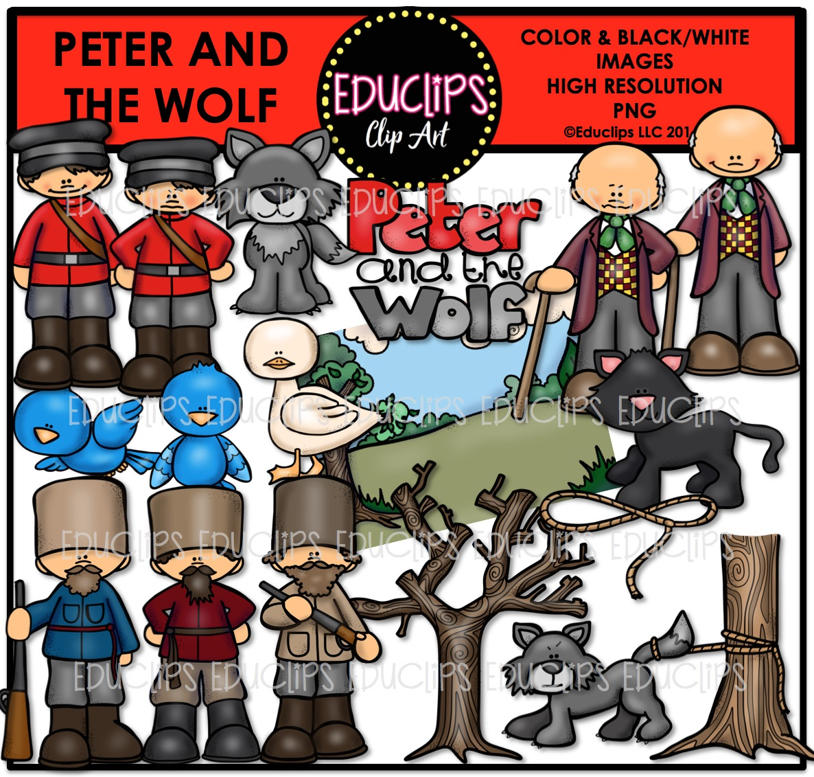 Peter And The Wolf Clip Art Bundle (Color and B&W).