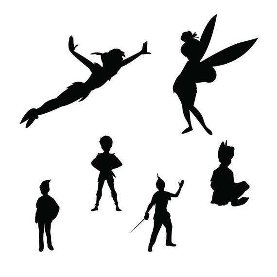 peter pan clipart black and white #6