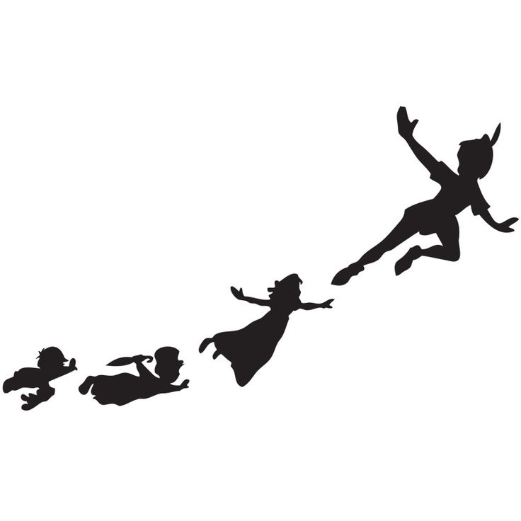 Peter Pan Flying To Neverland Silhouette.