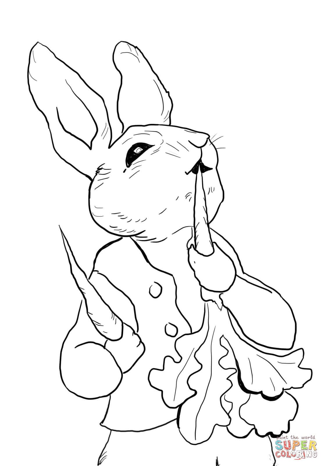 Peter Rabbit Eating Radishes coloring page from Peter Rabbit.