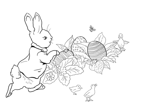 Peter Rabbit Easter Egg Hunt coloring page.
