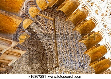 Stock Photography of Mudejar decorations in the Patio de las.