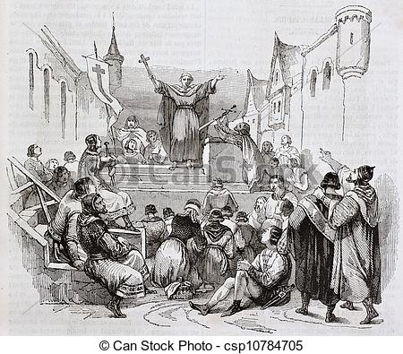 Stock Illustration of Peter the Hermit preaching the first crusade.