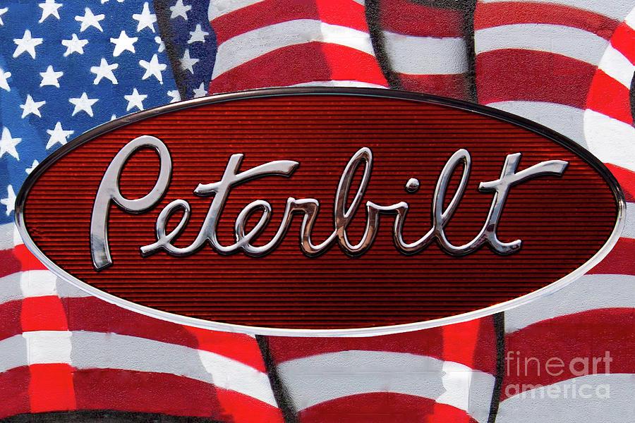 Peterbilt Emblem On American Flag.