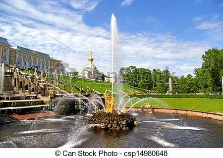 Stock Photo of Samson Fountain in Peterhof Palace, Russia.