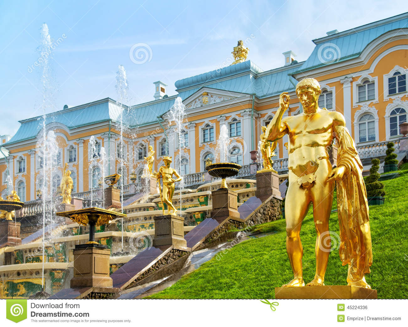 Grand Cascade In Peterhof Palace, Saint Petersburg, Russia Stock.