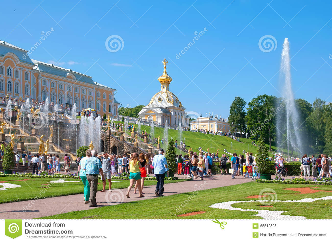 Peterhof. Russia. People In The Lower Park Editorial Image.