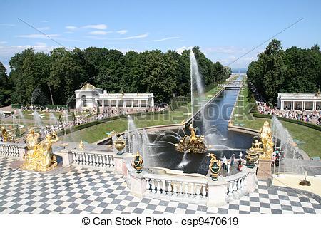 Stock Photographs of Grand Cascade Fountains of Peterhof Palace.