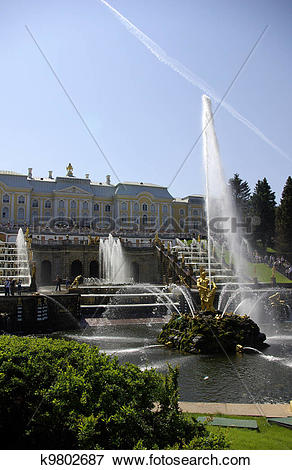 Picture of Fountains at Peterhof, Russia k9802687.